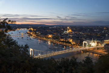 A dusk view of Danube river with Erzsebet bridge on the background in Budapest, Hungary