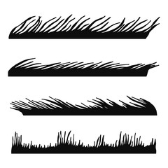 grass and lawn black silhouette vector. isolated