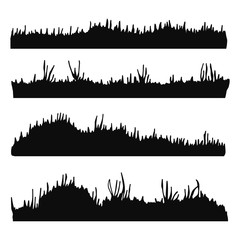 grass and lawn black silhouette vector. isolated set