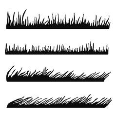 grass black silhouette vector. isolated set