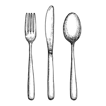 cutlery hand drawing vector. isolated spoon fork and knife