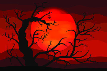 The Bloody Halloween Background with Silhouettes of the Terrible Tree. A Poster in a Flat Style. Vector Illustration