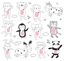Vector cartoon collection with cute doodle dancing animals. Perfect for postcard, birthday, baby book, children room, anniversary