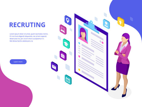 Isometric, hiring and recruitment concept for web page, banner, presentation. Job interview, recruitment agency vector illustration