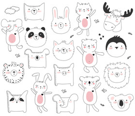 Vector cartoon collection of stickers with cute doodle animals and motivation lettering phrase
