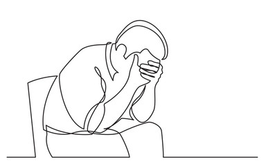 continuous line drawing of depressed man sitting on chair