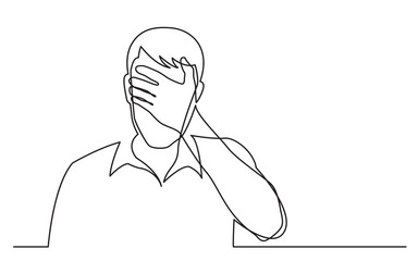 continuous line drawing of man hiding his face in despair