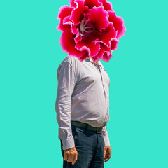 Fashion collage of modern glamor businessman with flower head on vivid blue background. Minimal Surrealism, Contemporary art