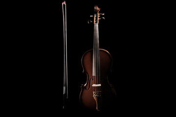 Violin with bow musical instrument of orchestra