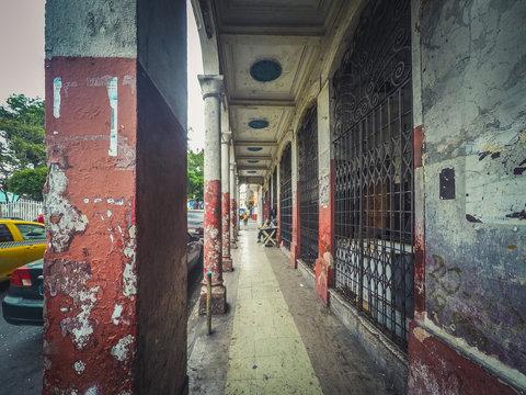 Old building in Casco Viejo, street scenery in Panama City