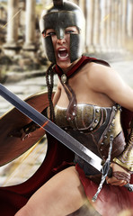 Fighting with valor , a Spartan female is engaged in battle defending her homeland .3d rendering