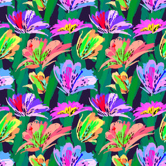 Floral painting seamless pattern. Free hand colorful background with botanical motif. Hand drawn artistic background.