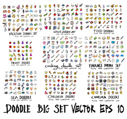 Doodle Vector drawing Big icon collection of vacation, spring, food, fruit, cooking, finance, sea, children, cinema eps10