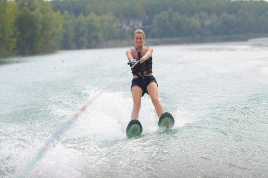 Portrait of woman water skiing
