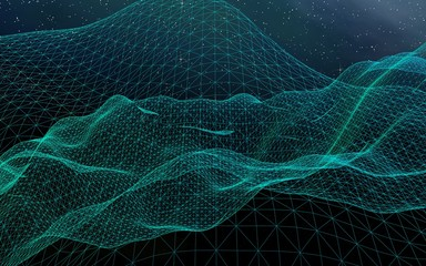 Abstract landscape on a dark background. Cyberspace grid. Hi-tech network. Outer space. Starry outer space texture. 3D illustration