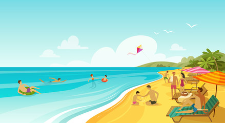 People rest on sea beach. Vacation, travel banner. Cartoon vector illustration