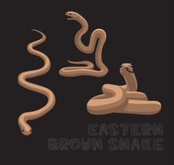 Snake Eastern Brown Cartoon Vector Illustration
