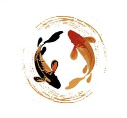black and red koi fish illustration