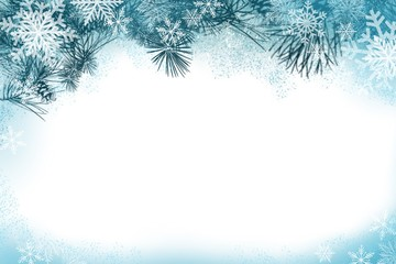 Natural Pine bough winter or summer border in greens, and blues decorative border frame design for invitations, greetings, posters backgrounds, web