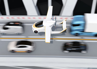 Futuristic autonomous car flying in the sky. 3D rendering image.