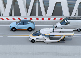 Side view of futuristic flying car driving on the highway. 3D rendering image.