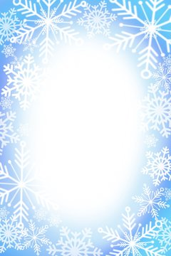 winter snowflake snowy border background design with large and small snow flakes, and beautiful winter look