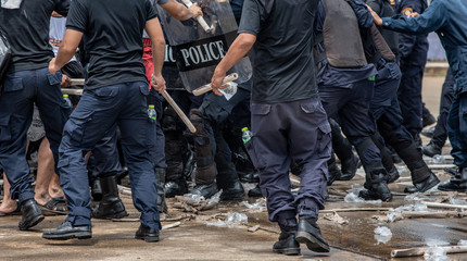 Riot police clashed with the protesters.