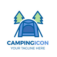 Camping site with modern tent and pine trees icon. Vector thin filled outline logo illustration for outdoor activities, vacations, traveling, mountain.