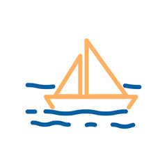 Vector sailboat in the sea with waves thin line icon. Marine and ocean related illustration. Boat sailing in the water through the wind