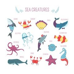 Sea fish and animals creatures vector cartoon design