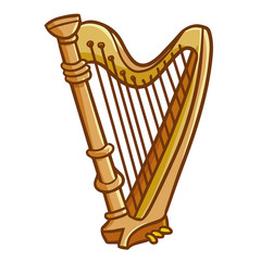 Funny and cute luxurious harp - vector
