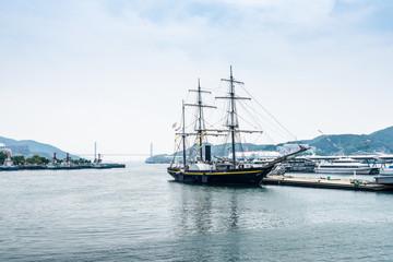 sailboat at port of Nagasaki