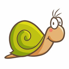 Cute and funny green snail smiling - vector.