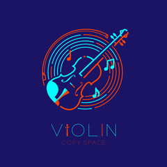 Violin, bow, music note with line staff circle shape logo icon outline stroke set dash line design illustration isolated on dark blue background with violin text and copy space