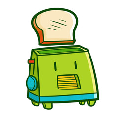 Cute and funny green toaster throwing bread - vector.