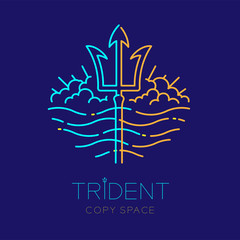 Trident, wave and cloud, logo icon outline stroke set dash line design illustration isolated on dark blue background with trident text and copy space