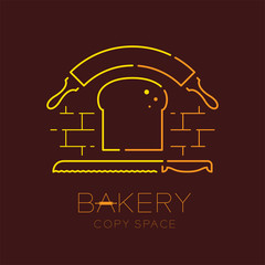 Bread, rolling pin and bread knife  logo icon outline stroke set dash line design illustration isolated on brown background with bakery text and copy space