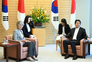 South Korea's Foreign Minister Kang Kyung-wha meets with Japan's Prime Minister Shinzo Abe at Abe's official residence in Tokyo