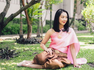 Thai woman in traditional Thai costume of ordinary ancient lady.