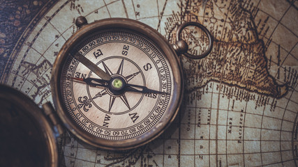 Compass With World Map