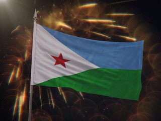 Flag of Djibouti with fireworks display in the background