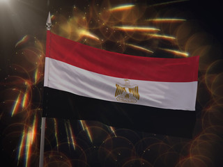 Flag of Egypt with fireworks display in the background