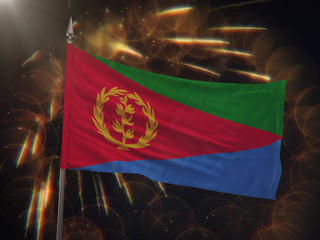 Flag of Eritrea with fireworks display in the background