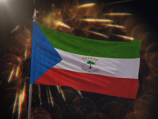 Flag of Equatorial Guinea with fireworks display in the background
