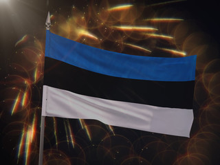 Flag of Estonia with fireworks display in the background