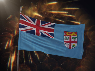 Flag of Fiji with fireworks display in the background