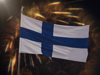 Flag of Finland with fireworks display in the background