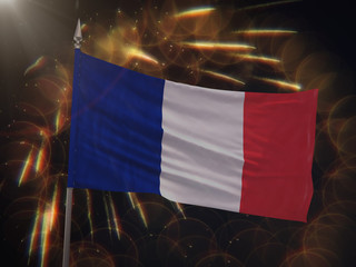 Flag of France with fireworks display in the background