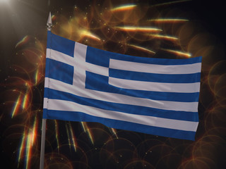 Flag of Greece with fireworks display in the background