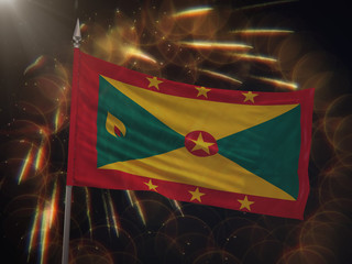 Flag of Grenada with fireworks display in the background
